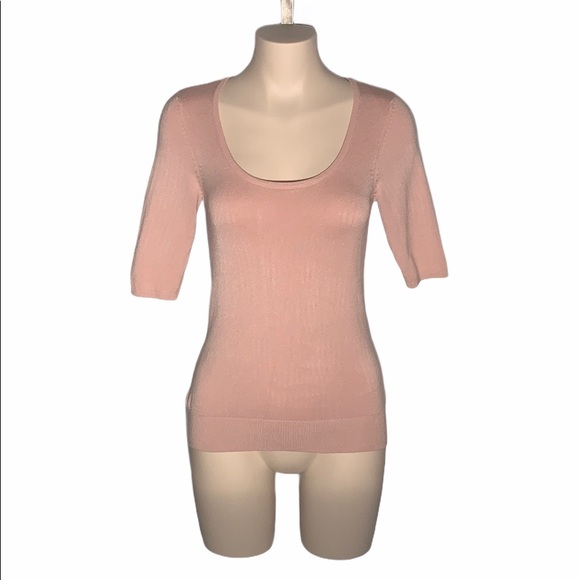 Le Chateau Pretty Pink Scoop Neck Elbow Length Top